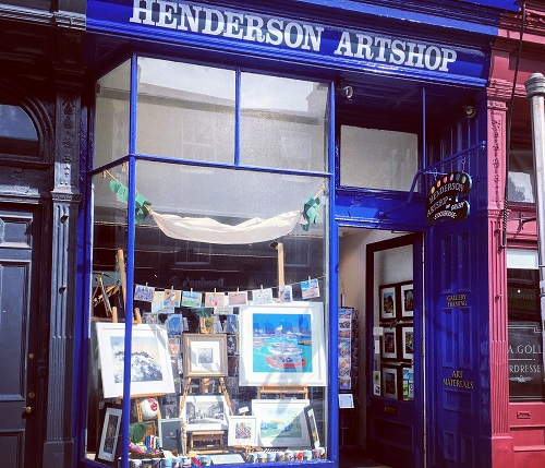Hendersons Art Shop Exterior Window With Paintings