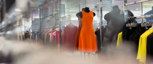 Shopping With Orange Dress